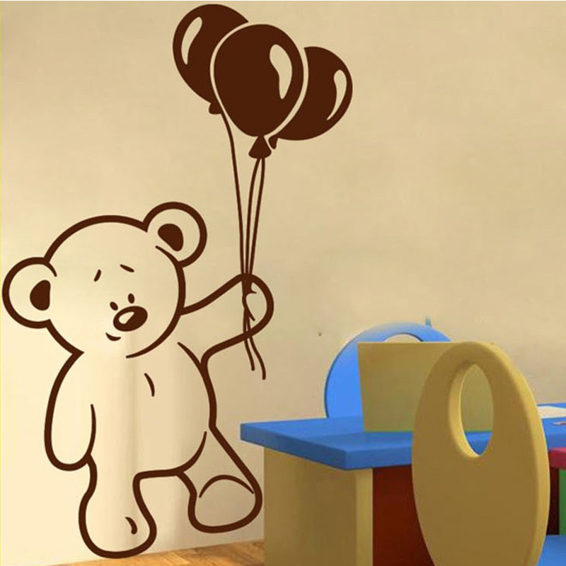 Hot Sale Baby Bear and Balloon wall stickers for kids rooms nursery ...