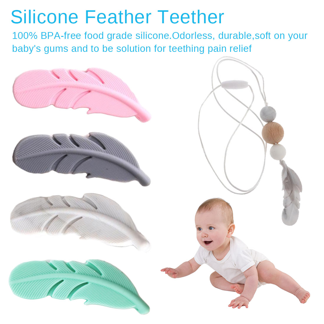 1 Pieces Silicone Feather Teether Pendant Food Grade Silicone Toys For Baby Chew Pacifier Clips Accessories BPA FREE