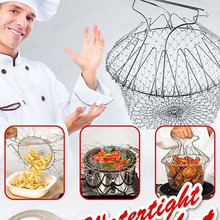 304L Stainless Steel Foldable Steam Rinse  Deep Fry Chef Basket Magic Basket Mesh Basket Strainer Net Kitchen Cooking Tool