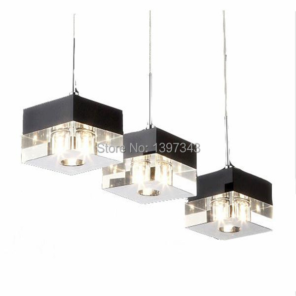 ФОТО Wonderland Modern LED Crystal Ice Block Pendant Light Restaurant Lights 1/3/6 Heads Style 2015 Hot New PL-203