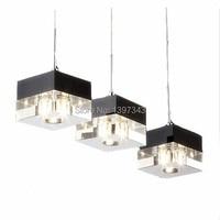 Wonderland Moderne LED Crystal Ice Blok Hanglamp Restaurant Lichten 1/3/6 Heads Stijl 2015 Hot Nieuwe PL-203