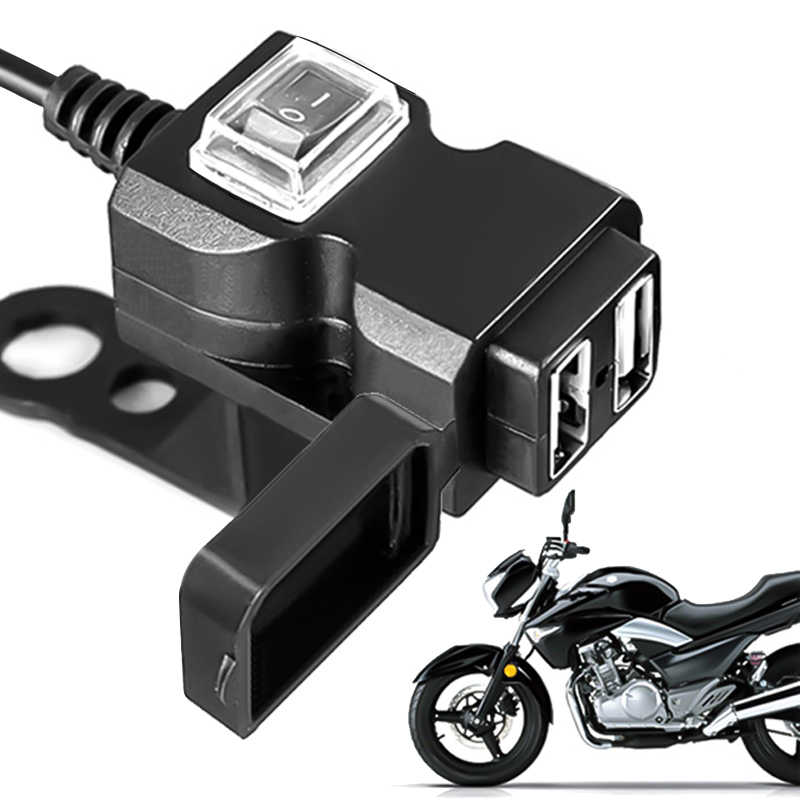 12V-24V Dual USB Port Waterproof Motorbike Motorcycle Handlebar Charger Adapter Power Supply Socket for iphone samsung huawei