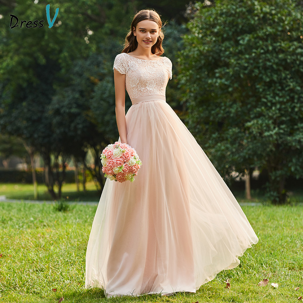 Dressv scoop neck a line bridesmaid dress zipper-up short sleeves lace wedding party women floor length bridesmaid dresses