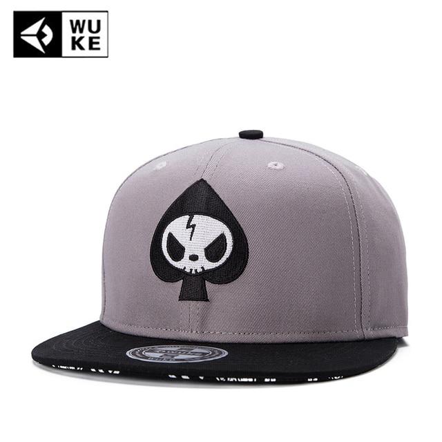 35f1f0febb WUKE Brand Skull Flat Brim Bones Gorra Sports Snapback Caps Flat Cotton  Dancer 2018 Hip Hop