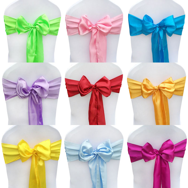 25pcs lot satin chair cover sash bow tie ribbon decoration wedding