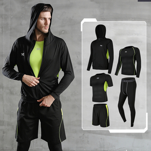 Image 3 - 5 Pcs/Set Mens Tracksuit Gym Fitness Compression Sports Suit Clothes Running Jogging Sport Wear Exercise Workout Tights