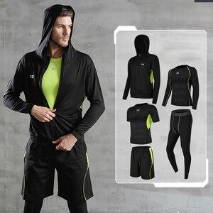 Image 3 - 5 Pz/set Tuta da Uomo Palestra di Fitness di Compressione di Vestiti del Vestito di Sport Corsa E Jogging Da Jogging vestito di Sport di Usura Esercizio di Allenamento Calzamaglie