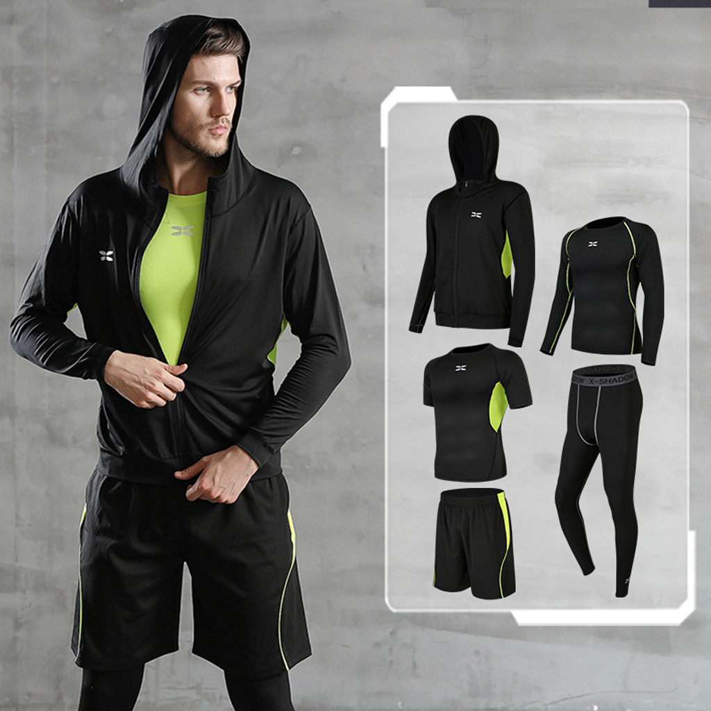 Image 3 - REXCHI 5 Pcs/Set Men's Tracksuit Gym Fitness Compression Sports Suit Clothes Running Jogging Sport Wear Exercise Workout Tights-in Running Sets from Sports & Entertainment