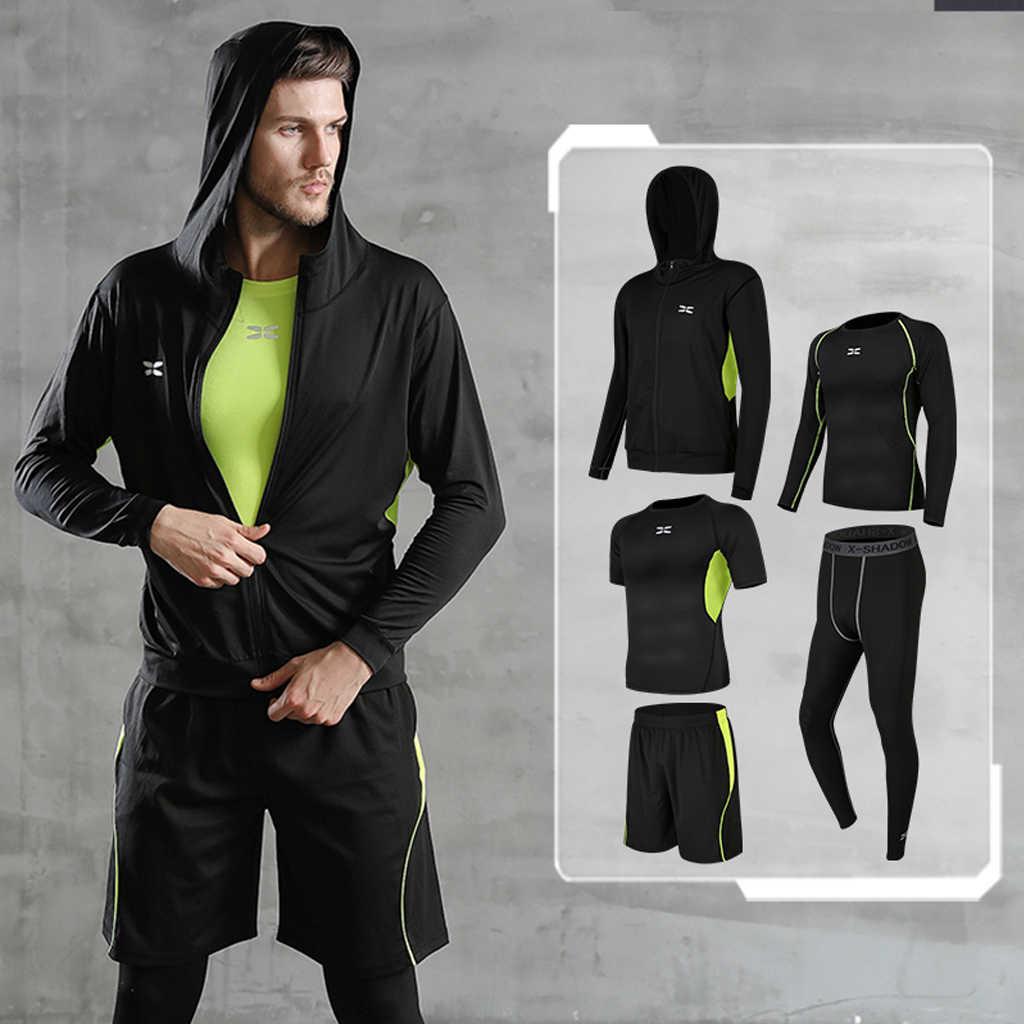 REXCHI 5 pz/set Tuta da Uomo Palestra di Fitness di Compressione di Vestiti del Vestito di Sport Corsa e Jogging Da Jogging vestito di Sport di Usura Esercizio di Allenamento Calzamaglie
