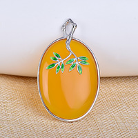 [S925] longnice silver inlay cloisonne enamel pendant green cord pendant ornaments