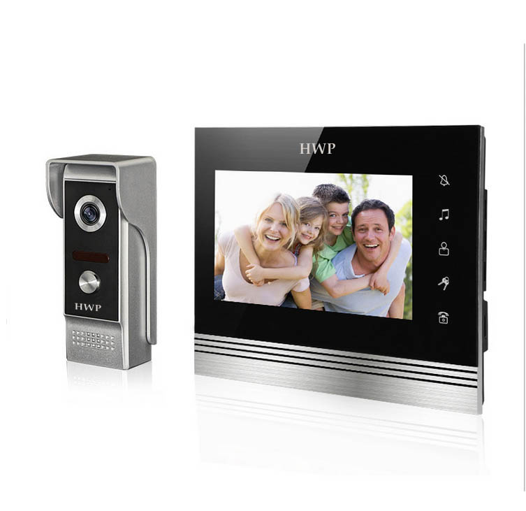 Video and audio building intercom Doorphone 7 inch LCD Color Rain-proof Night Vision Camera 7 inch video doorbell tft lcd hd screen wired video doorphone for villa one monitor with one metal outdoor unit night vision