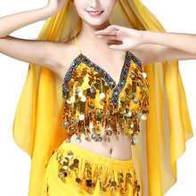 Belly Dance Costumes Bra Tops Women Sexy Sequined Tassel Stage Performance Bustier Crop Top Female Bellydance Party Bras(China)
