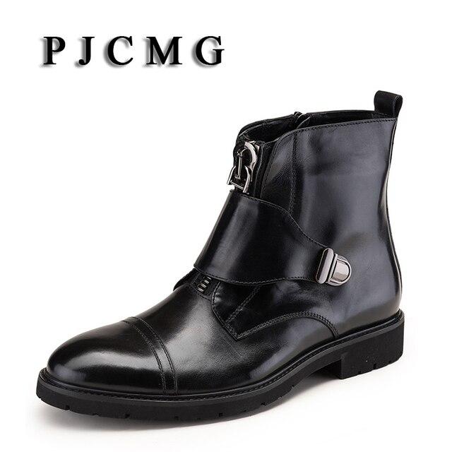 PJCMG Yeni Lüks erkek Sonbahar/Kış Zip Moda Erkek İngiliz Tarzı Retro Martin Sivri Burun Hakiki Deri Erkekler ayak bileği Çizmeler
