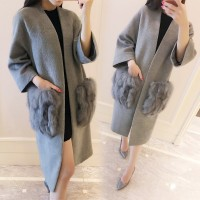 Women Elegant Fox Fur Pocket Autumn And Winter Wool Coat Medium Long Slim Outerwear Grey And