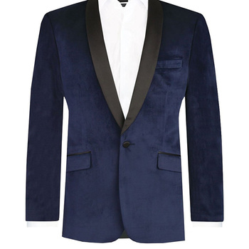 Two Piece Navy Blue Velvet Mens Suits Two Piece Blazer Black Shawl Lapel Jacket Pants Custom Made Men Suits 2018