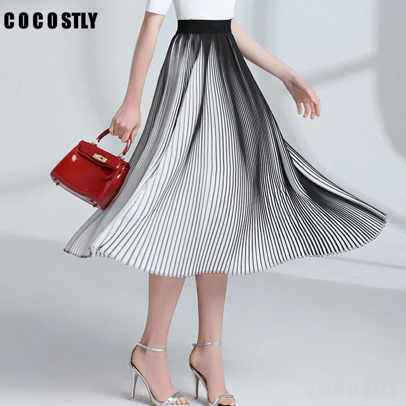 Casual Pleated Skirts Womens Spring 2018 New Fashion Chiffon Long Skirt Black And White Striped Elastic High Waist Skirt Women