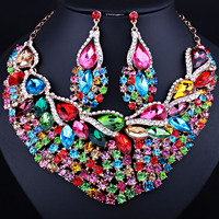 African Gold Plated Leaf Crystal Rhinestones Necklace Earrings Set Luxury Women Wedding Prom Jewelry Sets