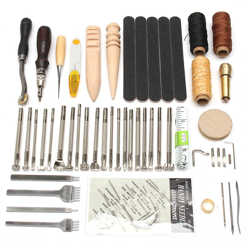 KiWarm 59PCS Useful Leather Craft Hand Tools Kit Thread Awl Waxed Thimble Kit For Hand Stitching Sewing Stamping DIY Tool Set-in Leathercraft Tool Sets from Home & Garden    2