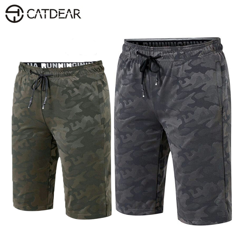 CATDEAR Outdoor camouflage Running fitness shorts Men Summer cycling Elastic quick-drying shorts Outdoor sports shorts