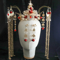 PEORCHID Red Gold Ancient Traditional Chinese Bridal Tiara Hair Crown Tassel Wedding Hair Decoration Jewelry Bride Head Piece