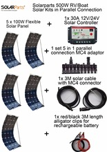 Boguang 500W DIY solar Kits syste, 5x 100W flexible solar panel, 1x 30A solar controller, 1set 5 in 1 connector full cable