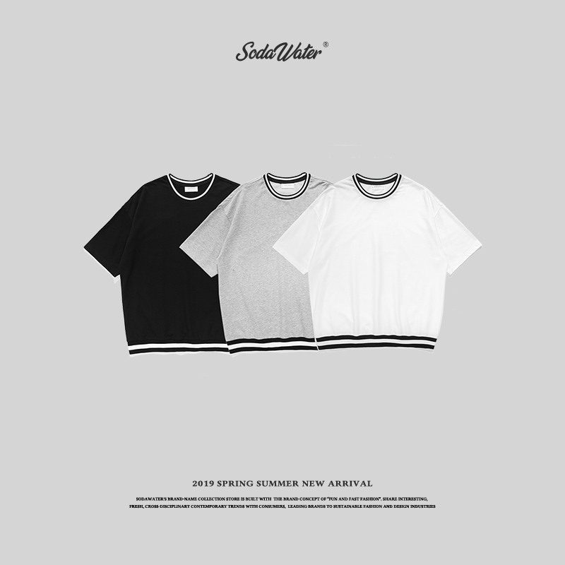 SODA eau rayure o-cou solide T-shirts T-shirts basique femmes hommes coton t-shirt Streetwear été Style Skateboard T-shirts 8297 S