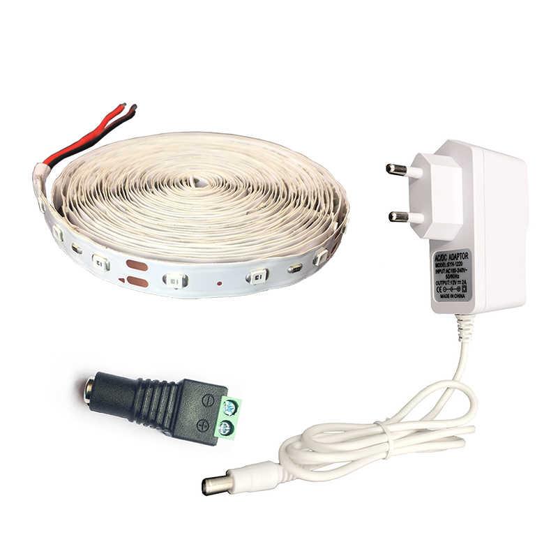 Lampu LED Strip 3528 RGB 12 V Fleksibel RGB 5 M LED String Rumah Dekorasi Lampu 24key Remote Controller 2A adaptor Daya