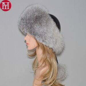 Image 1 - Sombrero de piel de zorro Real y Natural para mujer, sombrero de piel de zorro Real, sombreros de bombardero de piel, gorro de piel auténtica de zorro 2020