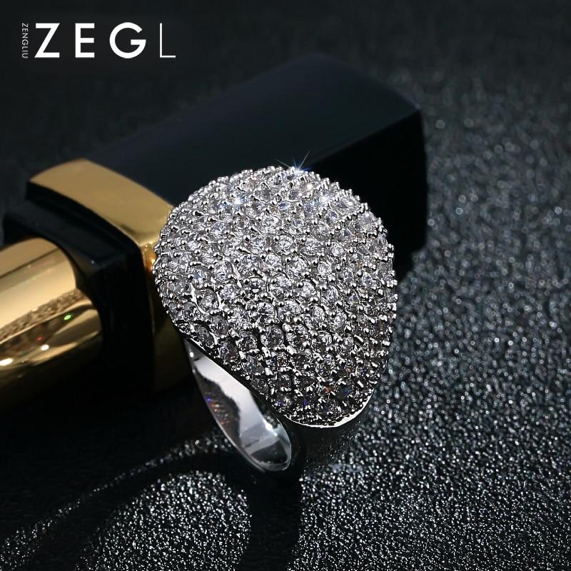 ZEGL bague femme bague mariage bague exquise bague cristal bague zircon cubique - 6