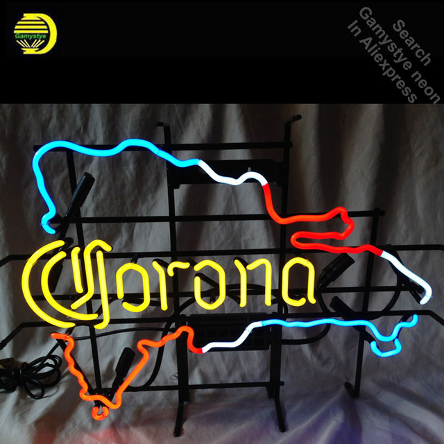 Neon Signs for Map of Dominican Republic Corona Neon bulb Sign Restaurant Display Lamps Handcraft Glass Tubes Art Dropshipping