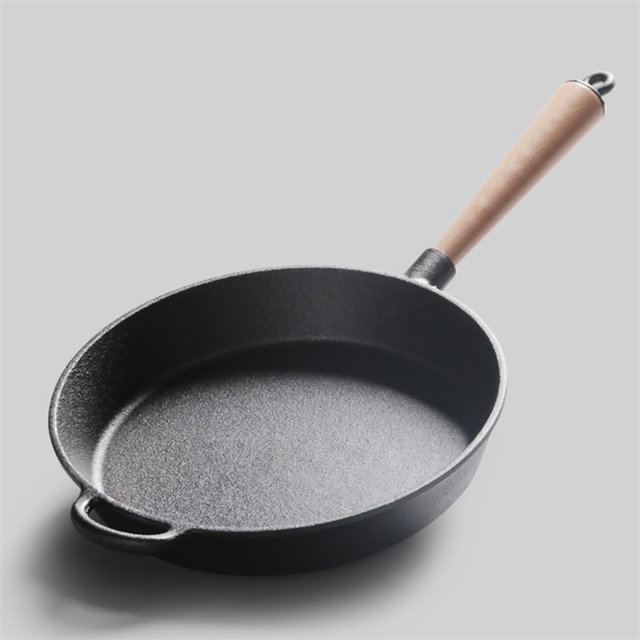 Cast Iron Skillet Non Stick Frying Pan With Wood Handle