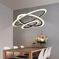 Anéis de acrílico led lustre hanglamp iluminação para sala estar sala jantar suspensão luminária lustre moderno