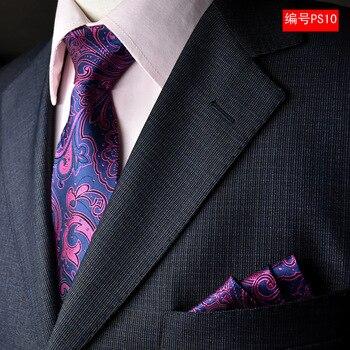 NINIRUSI 100% seda para hombres corbata de cuello cuadrado de bolsillo Set 2018 nuevo 8cm Gravata corbatas de boda para hombres corbata delgada