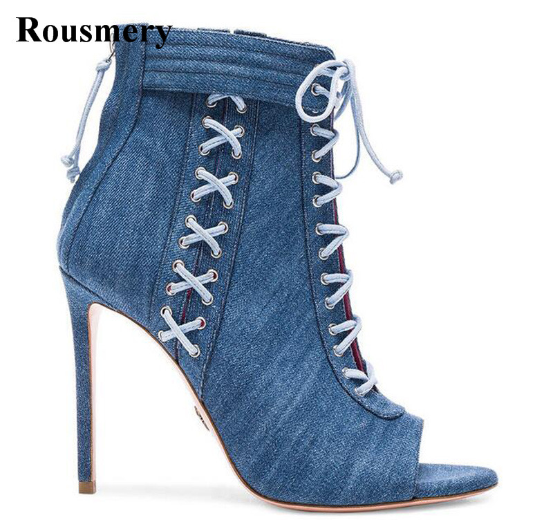 New Design Women Fashion Open Toe Denim Ankle High Heel Boots Lace-up Cut-out Jean Gladiator Boots Thin Heel Boots