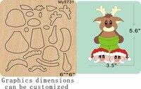 Christmas deer wooden die cut accessories wooden die Regola Acciaio Die Misura ,my
