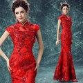 2016 Chegada Nova Luxury Lace Pequeno Stand Colloar Vestido Formal do Estilo Chinês/Chinês Vermelho Cheongsam/Magro Brinde Do Casamento vestido 1165
