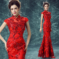 2016 New Arrival Luxury Lace Small Stand Colloar Chinese Style Formal Dress/Chinese Red Cheongsam/Skinny Wedding Toast Gown 1165