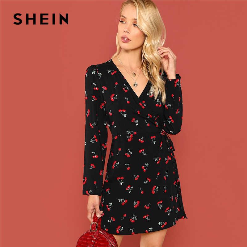 fcb6a17be5 SHEIN Black Elegant Allover Cherry Print Wrap Knot V Neck Long Sleeve  Belted Dress Autumn Modern