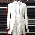 Мужской белый Тонкий Королевская свадьба Банкет Вечернее dress долго дизайн магия костюмы сценическое шоу производительности костюм набор