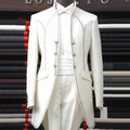 Male white Slim Royal wedding Banquet Formal dress  long design magic suits stage show performance suit set