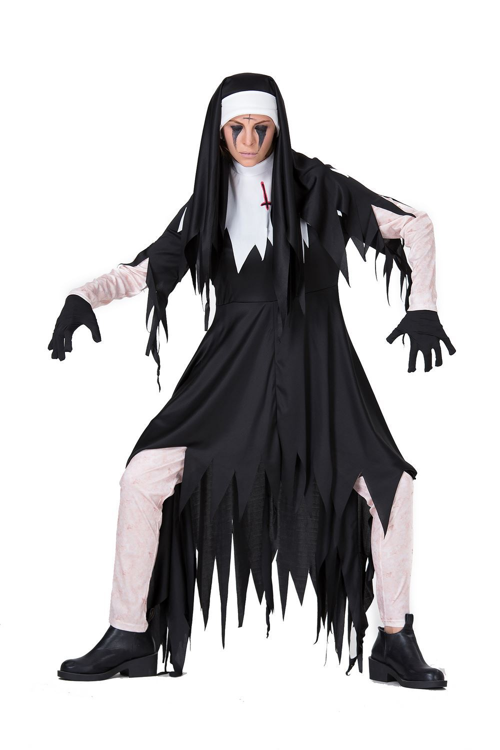 Halloween Horror Bloody Adult Nuns Priest clothes Missionary Costumes Irregular Black Long Dress Zombie