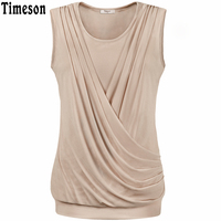 Summer Womens Sleeveless Basic Solid Round Neck Pleated Front Vest Tank Top Femme Candy Color Women