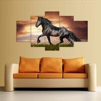 5 أجزاء قماش الفن صور عالية الجودة رخيصة تشغيل الحصان كبير hd الحديثة جدار ديكور المنزل مجردة النفط قماش الطباعة اللوحة