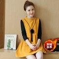 El nuevo vestido de otoño e invierno de maternidad larga chaqueta de lana versión coreana del suéter de bebé grande de maternidad suelta vestido de w
