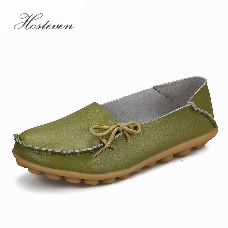 Hosteven Flats Women Leather Shoes Loafers Casual Female