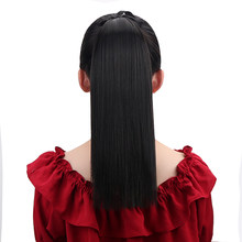 Drawstring Long Ponytail Afro Synthetic Hair Straight Clip In Pony Tails 16'' Rallonge Cheveux Ponytails Extensions OEM HPP007(China)