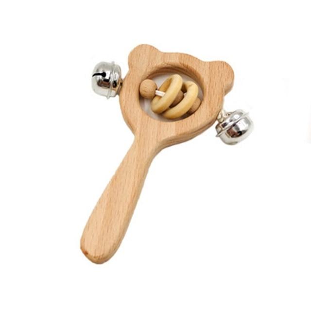 1 pieza bebé sonajeros de madera desarrollo Montessori juguetes para niños recién nacidos niños edcacional madera campanas de mano para cunas