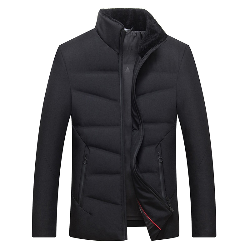 Men's Winter White Duck Down Jacket Fleeced Collar Slim Thick Warm Down Coat Selected Feather Clothing for Men Male 7671 New