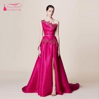 A Line Prom Dresses 2017 One Shoulder High Split Satin African Sexy Birthday Dresses Hot Pink Lace Appliques Formal Evening Gown