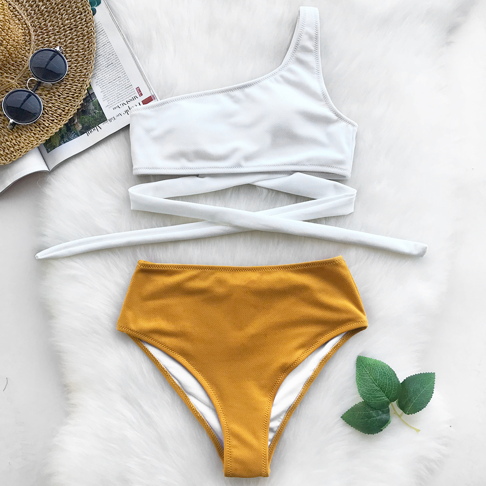 Cupshe Always Want You One Shoulder Bikini Set High-waisted Swimsuit Bathing Suit Brazilian Biquini Monokini Maillot De Bain cupshe riddle story print bikini set high waisted swimsuit bathing suit brazilian biquini monokini maillot de bain with lace up
